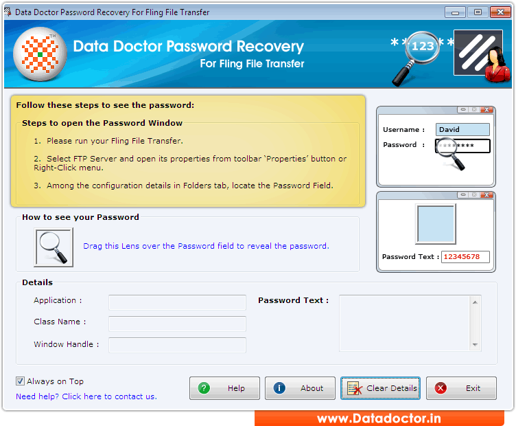 Fling username and password