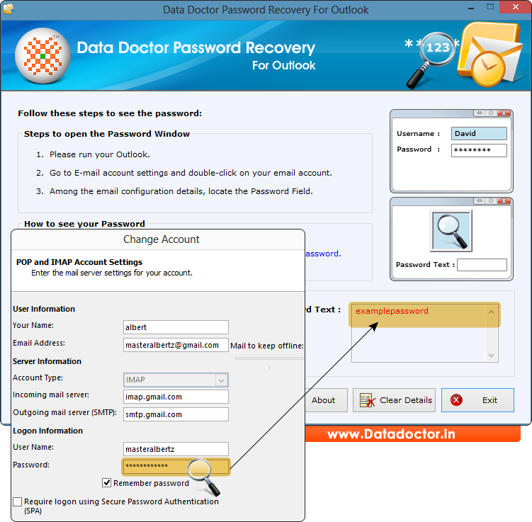 how to change password to automatically download email to outlook