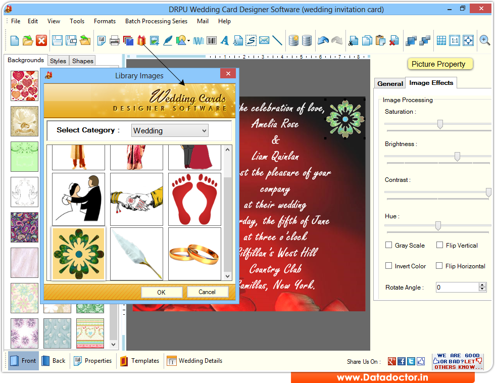 Screenshots of Wedding Card Maker Software to learn how to design card – Invitation Card Design Software
