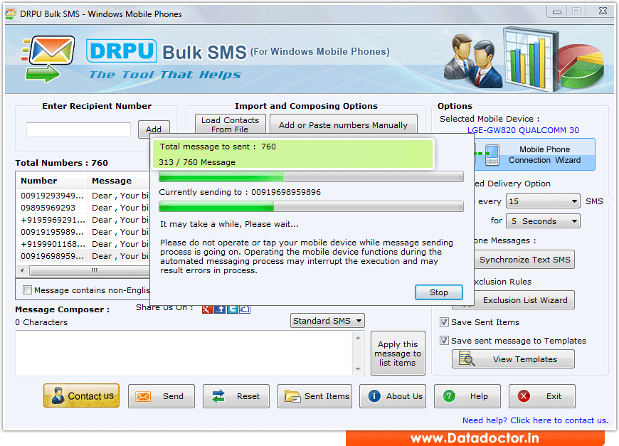 how to send bulk sms from pc to mobile