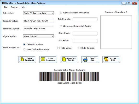 Barcode Label Creator