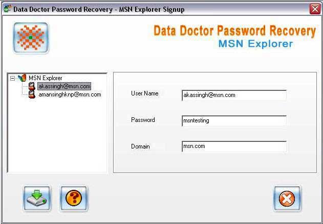 MSN Password Unmask Software screenshot