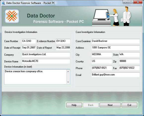 Pocket PC Forensics Tool